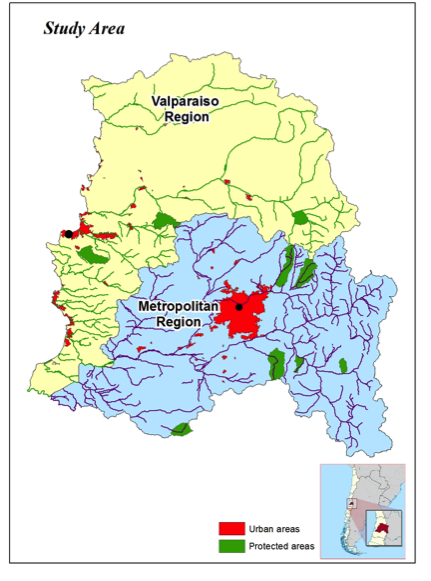 Figure 2: Study Area (Central Chile), represented by Valparaiso and the metropolitan region.