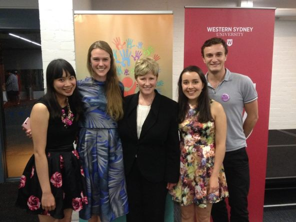 Christine Milne and UQ students (Sook Kuan San, Christine Trompe, Ariana Magini and Brendan Fugate)